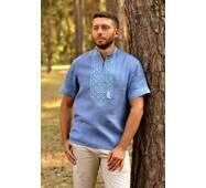 Мужская дизайнерская вышиванка из голубого льна Модель: М16к-273
