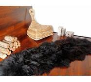 Ковер из 2-х овечьих шкур (черный, длинношерстная новозеландская овчина)