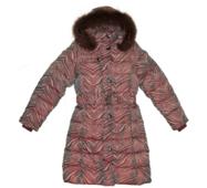 Пальто для девочки подростковое на пуху(пух- 70% , перо-30%), с натуральной опушкой Bilemi