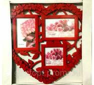 Рамка колаж на 3 фото Серце   (ЕВ179303)