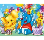 """Пакет для подарка большой горизонтальный """"Зверята на дне рождения"""" 36х22 см  (6 шт/уп)"""