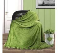 Велюровый плед покрывало с помпонами евро 200х230 см   Зеленый