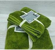 """Подарочный набор из двух махровых полотенец (баня и лицо)""""Оливка"""""""