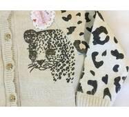 """Кофта вязанная """"Тигр"""" на девочку кремового цвета на 6-10 лет."""