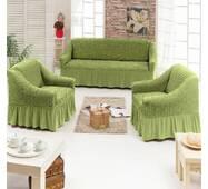 "Чехол на диван+2 кресла (Макси размер) ТМ"" Kayra"".Турция. -зеленый"