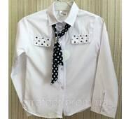 Школьная блузка с с галстуком 6-9 лет