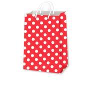 Подарункові пакети горох на червоному розмір 38 х 24 см (12 шт./уп.)