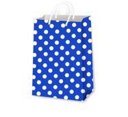 Подарункові пакети горох на синьому, розмір 38 х 24 см (12 шт./уп.)