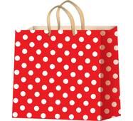 Пакети для подарунків горох на червоному фоні розмір 24 х 24 см (12 шт./уп.)