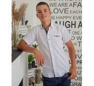 Сорочка біла 11,12,13,14,16 років. Короткий рукав, шкільна, приталена, підліткова Туреччина
