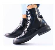Демисезонные черные ботинки для девочки, кожа наплак 35