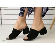 Женские сабо на каблуке, черные замшевые 40
