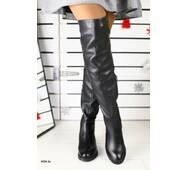 Зимние кожаные женские сапоги ботфорты 40