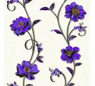 Шпалери паперові Континент Деми среневые квіти білий фон 1267