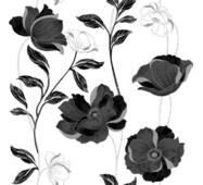Обои бумажные Континент Есения черные цветы белый фон 1269
