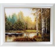 "Картина из янтаря ""Озеро и аисты"" 30х40 см"