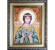 """Именная икона из янтаря """"Святая Надежда"""" 15 х 20 см без стекла"""