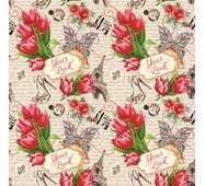 Подарунковий папір для упаковки Тюльпани, 5 шт/уп