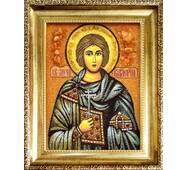 """Именная икона из янтаря """"Святой Валерий"""" 15х20 см без стекла"""