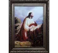"""Икона янтарная """" Иисус молится"""" 20 х 30 см без стекла"""
