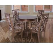 Круглый раскладной стол Эдельвейс со стульями