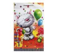 """Пакет для подарунка великий вертикальний """"Кіт з кульками"""" 25х37 см   (6 шт/уп)"""