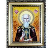 """Икона из янтаря """"Святой Сергий""""  15х20 см без стекла"""