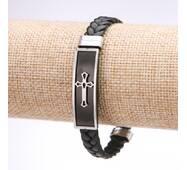 Браслет чоловічий Хрест еко шкіра косичка сталева планка