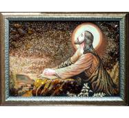 """Ікона із бурштину """"Ісус Спаситель"""" 30х40 см без скла"""