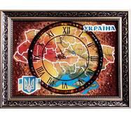 Карта України з годинником із бурштину 30х40 см