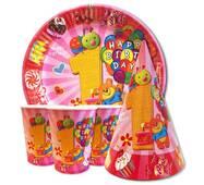 """Набор для детского дня рождения """" Первый годик розовый """" Тарелки -10 шт Стаканчики - 10 шт Колпачки - 10 шт"""