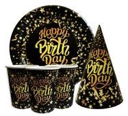"""Набор для детского дня рождения """" Happy Birthday звёзды """" Тарелки -10 шт Стаканчики - 10 шт Колпачки - 10 шт"""