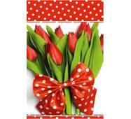 """Пакети для подарунків """"Тюльпани з метеликом"""" 16 х 27 см   (6 шт/уп)"""
