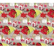 """Подарунковий папір для упаковки  """"Квіти на прищіпках"""", 5 шт/уп"""