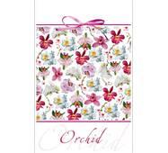 """Пакети для подарунків """"Орхідеї на білому фоні"""" 16 х 27 см   (6 шт/уп)"""