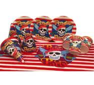 """Набор для детского дня рождения """" Пираты """" Тарелки -10 шт Стаканчики - 10 шт Колпачки - 10 шт Скатерть-1 шт"""