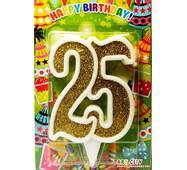 """Свічка цифра ювілейна золото """"25"""""""