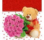 """Подарункові пакети """"Ведмедик з трояндами"""" 23 х 24 см   (6 шт./уп.)"""
