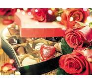 """Пакет для подарка большой горизонтальный """"Цветы и конфеты"""" 36х22 см  (6 шт/уп)"""