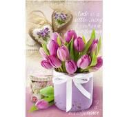"""Пакет для подарунка великий вертикальний """"Кошик з тюльпанами"""" 25х37 см   (6 шт/уп)"""