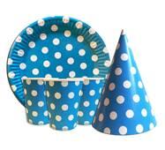 """Набор для детского дня рождения """" Горох голубой """" Тарелки -10 шт Стаканчики - 10 шт Колпачки - 10 шт"""