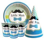 """Набор для детского дня рождения """" Little man """" Тарелки -10 шт Стаканчики - 10 шт Колпачки - 10 шт"""