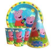 """Набор для детского дня рождения """" Свинка Пеппа голубой"""" Тарелки -10 шт Стаканчики - 10 шт Колпачки - 10 шт"""