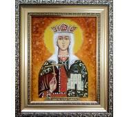 """Іменна ікона із бурштину """"Свята Тамара"""" 15 х 20 см без скла"""