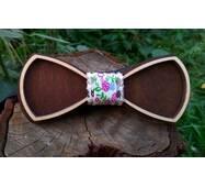 Деревянная бабочка галстук Ободок Цветы ручной работы, серия Fantasy