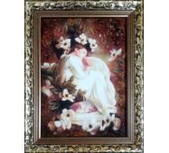 """Картина из янтаря """"Девочка в цветах"""" 20х30 см"""