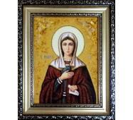 """Именная икона из янтаря """"Святая Ева"""" 15 х 20 см без стекла"""