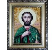 """Іменна ікона із бурштину """"Святий Анатолій"""" 15х20 см без скла"""