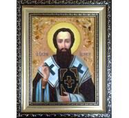 """Именная икона из янтаря """"Святой Василий"""" 15х20 см без стекла"""
