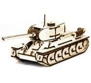 Механический деревянный 3d паззл SUNROZ Танк T - 34 127 эл.